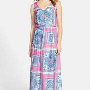 Vineyard Vines Silk Scarf Maxi Dress Pink Blue 8